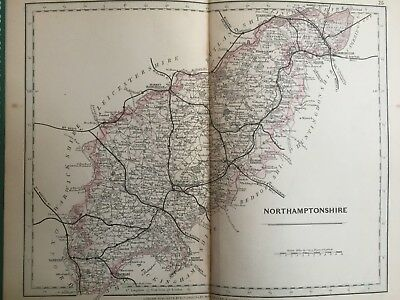 1875 Antique Map;  Cary / Cruchley map of Northampton. Orig Outline Colour