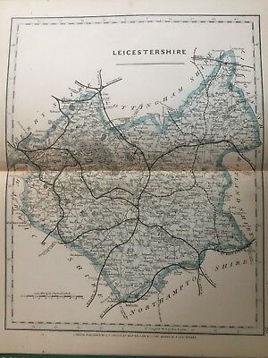 1875 Antique Map;  Cary / Cruchley map of Leicestershire. Orig Outline Colour