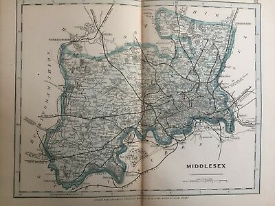 1875 Antique Map;  Cary / Cruchley map of Middlesex. Orig Outline Colour