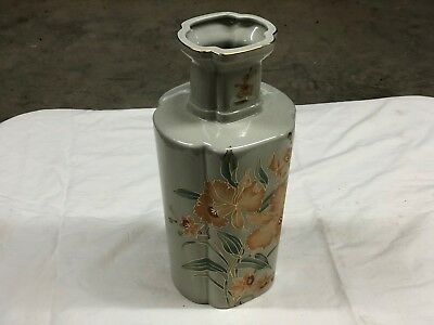 Speckled Porcelain Vase w/brown and green flowers with gold trim 13''