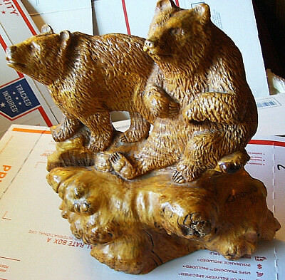 "Signed Geronimo1996 Grizzly Bears 10"" Wood Burl Figurine Sculpture Hand Carved"