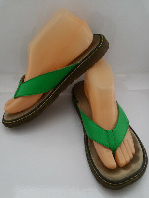 ec13e2bf6df5 Dr Martens Bella Womens Green Flip Flop Thong Sandals UK 5 US 7 Leather  Shoes