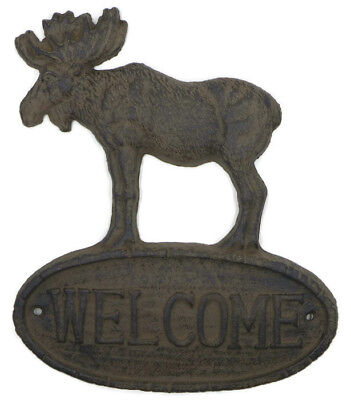 Cast Iron Moose Welcome Sign Plaque Rustic Log Cozy Cabin Lodge Home Wall Decor