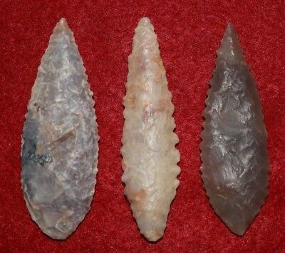3 nice Sahara Neolithic ovates, serrated, big
