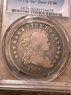 1799 $1 Draped Bust Silver Dollar PCGS VG8 Irregular Date 15 Star! Free Shipping