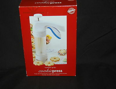 Wilton Cookie Press Comfort Grip NIB 2004 12  Disks 2 Recipes Clear Barrel
