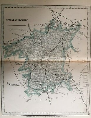 1875 Antique Map;  Cary / Cruchley map of Worcestershire. Orig Outline Colour
