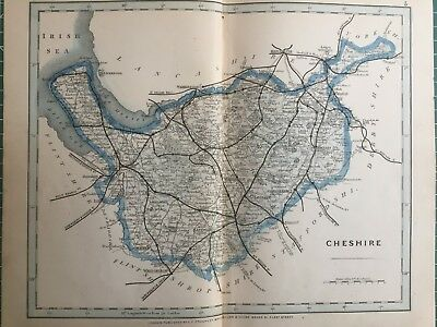 1875 Antique Map;  Cary / Cruchley map of Cheshire. Orig Outline Colour