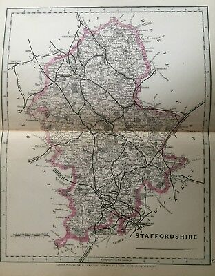 1875 Antique Map;  Cary / Cruchley map of Staffordshire. Orig Outline Colour