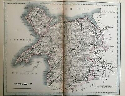 1875 Antique Map;  Cary / Cruchley map of North Wales