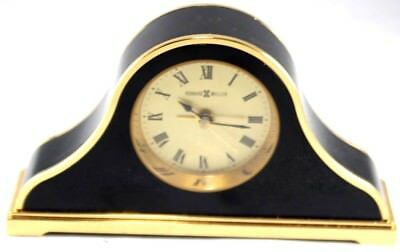 "Howard Miller Mantle Desk Clock Black & Gold Executive Office Style 5.75""W X 3""H"