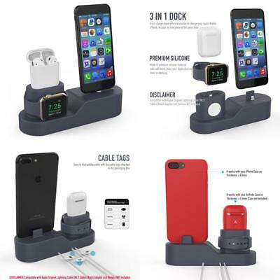 Charging Dock Station Stand 3 In 1 Charger For Iphone Apple Watch And Airpods