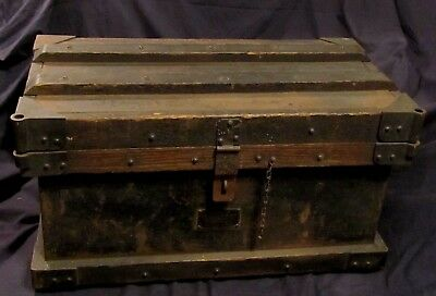Antique VANDERMAN Mfg. 1800's Railroad Gold Bullion Strong Box.Willimantic, Conn