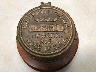 Vintage Antique Brass Water Meter Worthington Gamon Newark NJ Cover