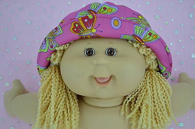 "Play n Wear Doll Clothes For 16"" Cabbage Patch PINK/BUTTERFLY DRILL SUN HAT"