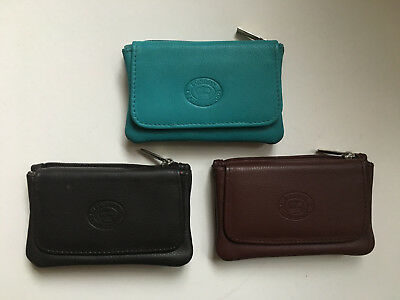 London Leathergoods Real Leather Coin Purse Credit Card Holder Key Case Brown