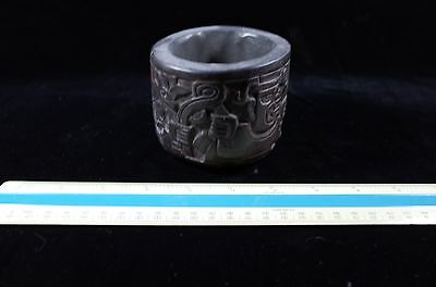 Pre-Columbian MesoAmerican Carved Black Stone Cup