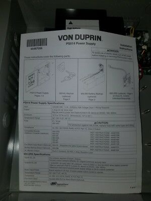 Von Duprin PS914-2RS Power Supply, 4 AMP, 12/24 VDC Field Selectable (NEW)