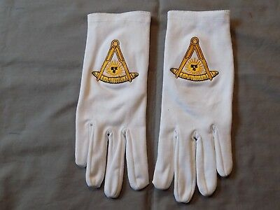 Past Master White Cotton Gloves Without Square Embroidered Masonic Freemason NEW