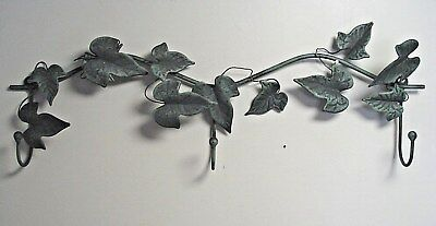 Vtg Wrought Iron Wall Mount Coat Clothes Hanger distressed green w/ ivy leaves