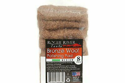 (8 Pack) Bronze Wool Pads by Rogue River Tools - Medium Grade