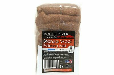 (8 Pack) Bronze Wool Pads by Rogue River Tools - Fine Grade