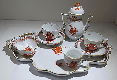 Herend Chinese Bouquet Rose Pattern Painted Porcelain Tet-A-Tet Coffee Set
