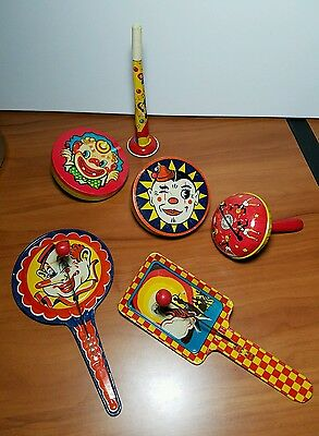 Vintage Kirchoff & USA Made Tin Litho Noise Makers, Lot of 6