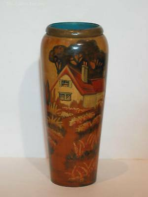 Large (23cm) Pokerwork Vase with Cottage Scene. Hielco