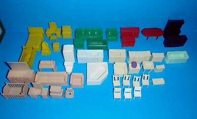 Vintage Lot of 45 Pieces Plastic Marx & Superior Dollhouse Furniture Playset