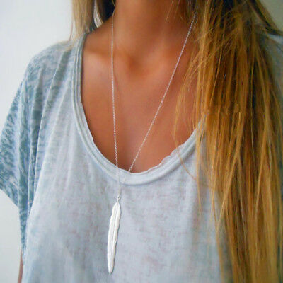 vintage long necklace jewelry silver gold color simple feather pendant necklaces