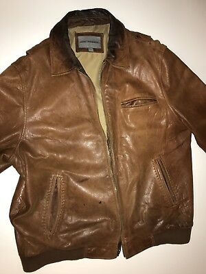 Johnston Murphy Leather Traditional Fit Jacket Zip Out Lining Black Size L Mens