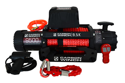 NEW Carbon Electric winch with synthetic rope 4X4Carbon 9.5K 9500lb HIGH SPEED