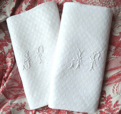 Huge pair antique French 19th century pure linen JF monogrammed damask napkins