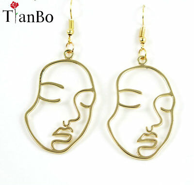 Art Deco Tribal Cutout Face Profile Dangle Drop Gold Silver Earrings Uk Seller