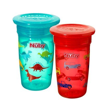 Nuby 360 Degree No Spill Cup, Maxi, Pack of 2 (Boy)  **FREE DELIVERY**