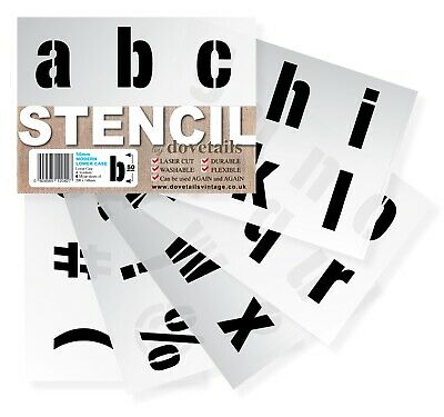 "BIG ALPHABET STENCIL LETTERS SYMBOLS 50mm tall 1.96"" 6x Sheets Modern LOWER CASE"