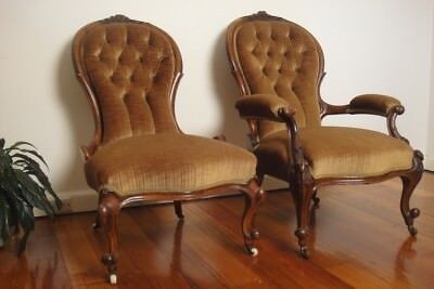 Antique Pair of Victorian Carved Walnut Ladies/Gentlemans Parlour Chairs C1800's