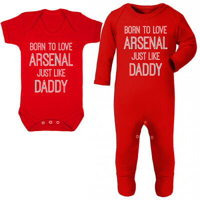 Born To Love Arsenal Like Daddy Baby Vest Grow Fathers Day Boys Gift Football