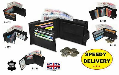 Mens luxury soft real leather WALLET Id window zip and coin pouch/holder