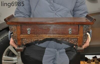 Old Chinese Huanghuali Wood hand Carved Ancient Dynasty drawer Table Desk Statue