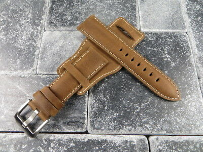 German Military Aviator Watch Strap Army Leather Cuff Watch Band Bund Brown WH X