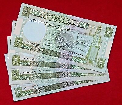SYRIA, Lot Of 4 Banknotes Five Syrian Pounds 1978 - 1982 - 1988 - 1991