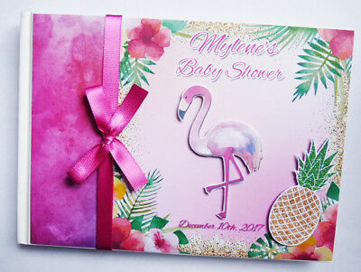 Flamingo/tropical Personalised Birthday/baby Shower Guest Book - Any Design