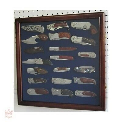 Pocket Knife Storage Display Case Cabinet Wall Mount Shadow Box Glass Door NEW