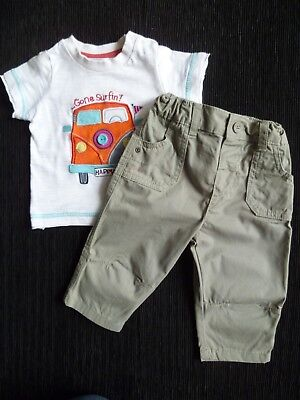 Baby clothes BOY 3-6m outfit VW Beetle car t-shirt/khaki green cotton trousers