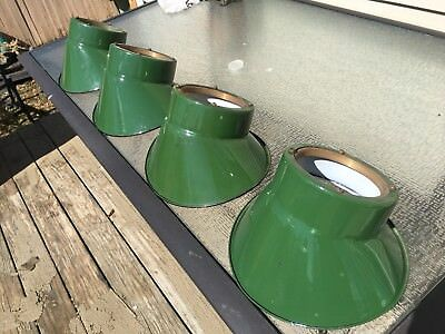 Antique Porcelain Gas Station Light Industrial Barn Shades Uncommon LOT OF 4