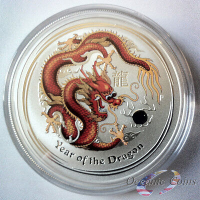 New 2012 1oz Australian Silver Dragon Red/Gold with mint capsule FREE Shipping