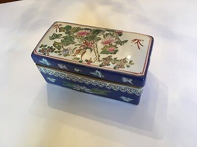 Chinese Ceramic Jewelry or Trinket Box w/ Mark/Blue, Pink, Green & White colors