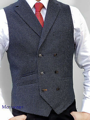 Mens Wool Blend Tailored Fit Check Lapel Navy Double Breasted Waistcoat Vest